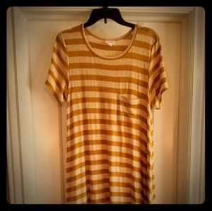 Lularoe mustard stripe sweater knit Carly dress